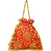 AyA Fashion Designer Royal Ethnic Clutch Silk Potli Batwa Wallet Bag with Beads Work |Hand embrodired and Golden Lace work Potli(Red)