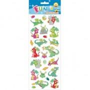 Merkloos 1x Draakjes stickervel met 24 stickers
