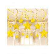 Vegaoo 30 Hängande stjärnspiraler i guld till jul One-Size