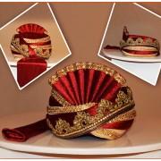 Wedding Wear Maroon Velvet Groom Turban - 72508
