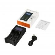 Cargador De Batería Inteligente LCD Ranuras Duales Para Las Baterías De Ión-litio Recargable Negro