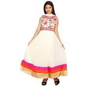 Stuties Women Anarkali net with Hand work in neck line with Chanderi Silk lining Readymade salwar kameezY097C3L Pink
