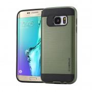 Samsung Galaxy S6 Edge + / G928 Geborstelde structuur beschermend TPU + kunststof VERUS back cover Hoesje (leger groen)