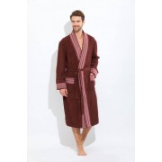 PECHE MONNAIE Элегантный мужской халат из бамбука коричневого цвета со светлой декоративной отделкой PECHE MONNAIE №917 Коричневый