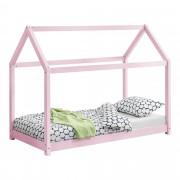 [en.casa]® Gyermekágy házikó formájú gyerekágy 140x70cm, rózsaszín
