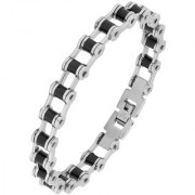 Bike Motor Cycle Chain Black Accents Silver Plated 316L Surgical Stainless Steel Bracelet For Men