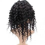 Sihui Pelucas 7A onda profunda 360 de encaje frontal de la peluca Pre-desplumados color rayita natural peluca de pelo humano for las mujeres Negro (color : Negro, Size : 18 inch)