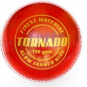KK Sports Cricket Leather Ball in Alum Tanned Hide - Tornado Quality Red color Pack of 1 Hand Stiched 50-overs Life