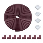 meiqicool Edge & Corner Guard Set   Extra Long 6. 1 Meters [20. 4Feet + 12 Pre-Taped Corners] - Coffic Brown Peace of Mind Childproofing Protector F200804Z