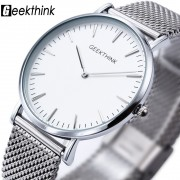 New ultra slim Top GEEKTHINK brand Quartz-Watch Men Casual Business JAPAN Analog Watch Men Relogio Masculino with gift box