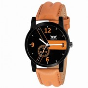 Specter Analog Day and Date Black Dial Leather Tan Belt Premium Wrist Watch for Men and Boys(KT 12)