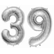 De-Ultimate Solid Silver Color 2 Digit Number (39) 3d Foil Balloon for Birthday Celebration Anniversary Parties
