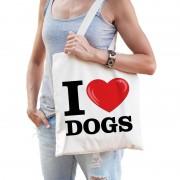 Shoppartners Katoenen tasje I love dogs/ honden