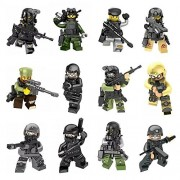 AMEI Minifigures Set - 12pcs Army Minifigures SWAT Team with Military Weapons Accessories Policeman Soldier Minifigures Toys Building Blocks Compatible
