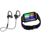 QC 10 bluetooth Headset and X6 smart watch with sim card and memory card slot||Wireless || Wireless Headphone || Bluetooth Stereo Headphone ||Travelling Headphones BFK_384