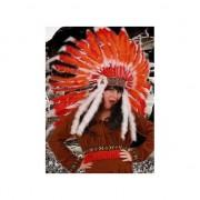 Merkloos Indianen hoofdtooi rood/oranje