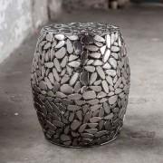 LUMZ Hoge zilverkleurige bijzettafel met stenen