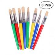 8Pcs Set DIY Painting Brushes Children's Paint Brushes Kids Paint Brush Set for Beginner Painting Practice (4Pcs Flat Head and 4Pcs Round Head)