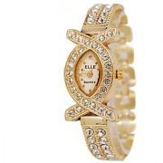 Oval Dial Golden Metal Strap Womens Quartz Watch