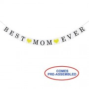 Partyprops Best Mom Ever Banner Garland With Gold Glitter Heart Sign - Happy Mothers' Day Decor Decorations Ideas