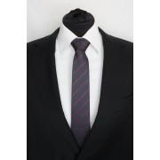 Pánská černá slim kravata s červenými pruhy - 6 cm