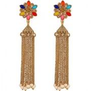 Asmitta fancy Multy Color Gold Plated Dangle Earring For Women