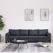 vidaXL 4-местен диван, тъмносив, текстил