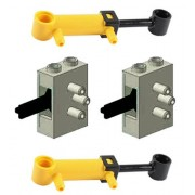 LEGO LEGO 4 pcs Technic NEW PNEUMATIC LOT of 2 Mini Piston 32mm Cylinders AND 2 Old Grey Air Valve Switch