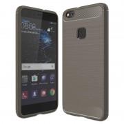 Huawei P10 Lite Brushed TPU Case - Carbon Fiber - Grey
