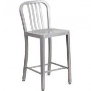 Flash Furniture High Back Metal Stool with Vertical Slat Back - 24Inch, Silver, Model CH6120024SIL