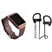 Zemini DZ09 Smart Watch and QC 10 Bluetooth Headphone for LG OPTIMUS L5 DUAL(DZ09 Smart Watch With 4G Sim Card Memory Card| QC 10 Bluetooth Headphone)