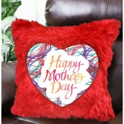 Happy Mothers Day Plush Decorative Red Fur Cushion