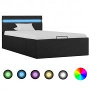 vidaXL Легло с повдигащ механизъм с LED тъмносиво текстил 100x200 см
