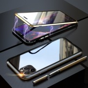 LUPHIE Double Sided Magnetic Metal + Tempered Glass Phone Cover for Apple iPhone 11 Pro 5.8 inch - Gold/Black