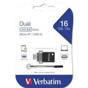 Pendrive, 16GB, USB 2.0+micro USB adapter, táblagéphez, VERBATIM DUAL (UV16GMD)
