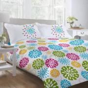 Lenjerie de pat Dormisete bumbac 100 BLUE FIESTA pentru pat 2 persoane 4 piese 200x220 / 50x70 cearceaf pat uni turqoaz