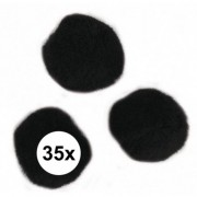 Rayher hobby materialen 35x knutsel pompons 25 mm zwart