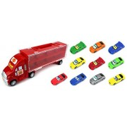 Race Car Semi Trailer Transporter Children's Toy Vehicle Playset with 10 Mini Toy Cars (Colors May Vary)