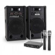 Electronic-Star Sistema de karaoke STAR-12 Set de altavoces PA activos Set de micrófonos inalámbricos VHF de 2 canales (PL-4658-2233)