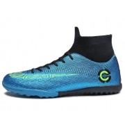 Outdoor High-Top anti-slip Soccer cleats training sneakers voor mannen grootte: 38 (2039-1 blauw gebroken nagel)