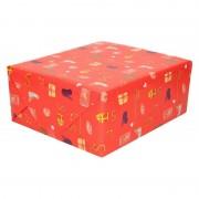 Bellatio Decorations 10x Sinterklaas inpakpapier/cadeaupapier print rood 250 x 70 cm