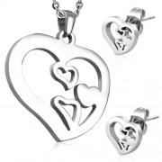 Ezüst színű szív alakú nemesacél medál és fülbevaló