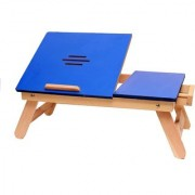 IBS Blue Matte With Drawer Portable Lapttop Table Solid Wood (Finish Color - Blue)