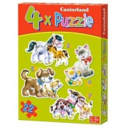 Puzzle 4 in 1 - Animale cu pui, 22 piese