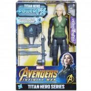 Hasbro marvel avengers infinity war vedova nera black widow titan hero power fx, personaggio 30 cm, e0614103