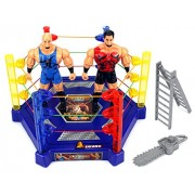 Light Up Wrestle King Champions Wrestling Toy Figure Play Set W/ Lights, Sounds, 2 Toy Figures, Wrestling Ring, Accessories