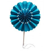 Turquoise Flower Paper Fans (packs of 10)