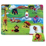 Puzzled Happy Zoo Educational Peg Wooden Puzzle - Animals / Zoo Animals Theme - Affordable Gift For Your Little One - Item #4373