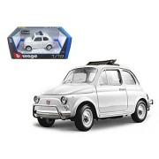 1968 Fiat 500 L, White - Bburago 12035 - 1/18 scale Diecast Model Toy Car
