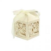 FashLady 50Pcs Mr&Mrs Bride Groom Laser Cut Candy Box Wedding Favor Titanium White